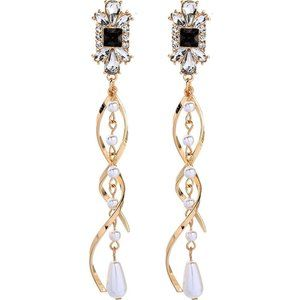 Helix Twist Gold and Crystal Earrings